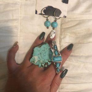 Earrings, ring and bracelet